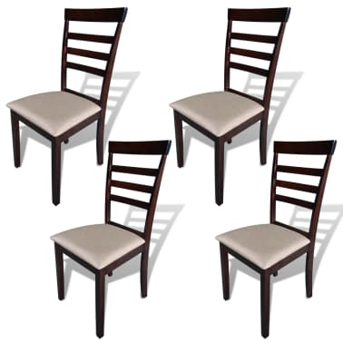 vidaXL Dining Chairs 4 pcs Solid Wood Brown and Cream[1/4]