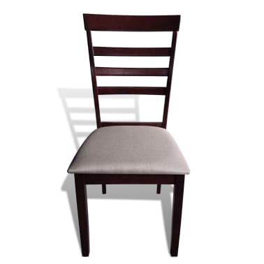 vidaXL Dining Chairs 4 pcs Solid Wood Brown and Cream[3/4]