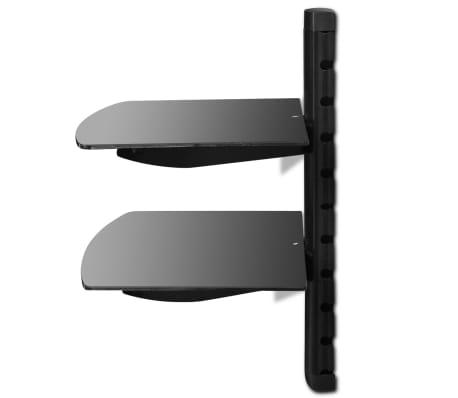 Acheter Étagère murale noire à 2 tablettes en verre pour DVD pas ...