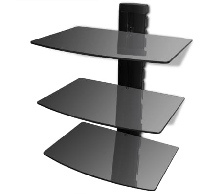3-tier Wall Mounted Glass DVD Shelf Black[1/6]