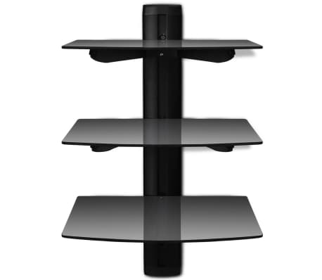 3-tier Wall Mounted Glass DVD Shelf Black[2/6]