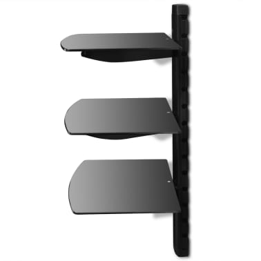 3-tier Wall Mounted Glass DVD Shelf Black[3/6]