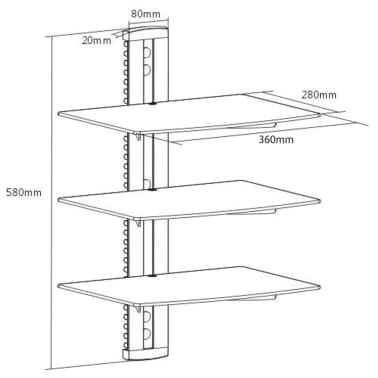 3-tier Wall Mounted Glass DVD Shelf Black[6/6]