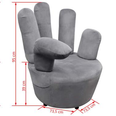 vidaXL Chair Hand-shaped Velvet Grey[5/5]