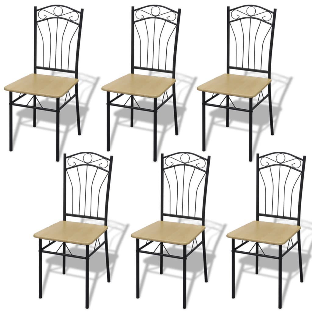 Sada 6 světle hnědých jídelních židlí, ocelový rám
