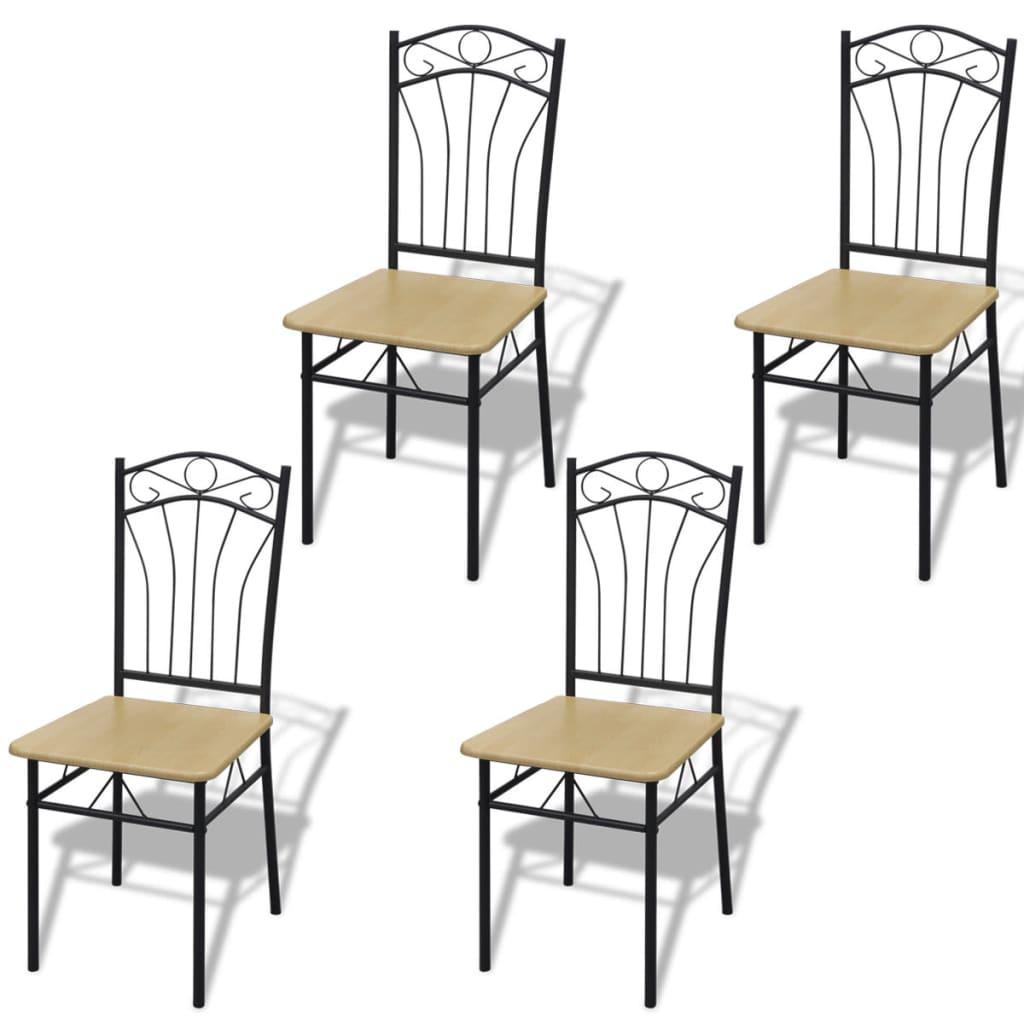 Sada 4 světle hnědých jídelních židlí, ocelový rám
