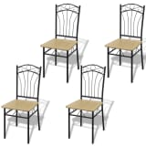 4 Dining Chairs with Steel Frame Light Brown