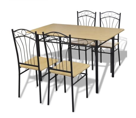 Dining Set 1 Table with 4 Chairs Light Brown[1/4]