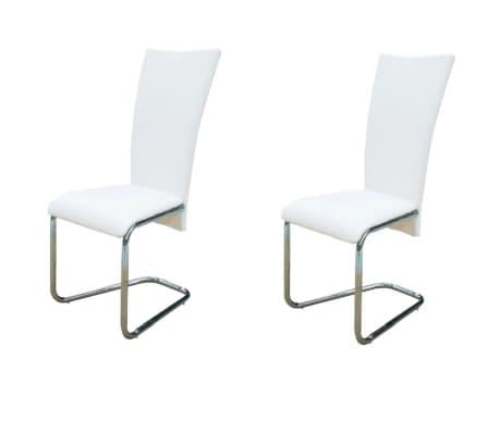 vidaXL Frittbærende spisestoler 2 stk hvit kunstig skinn