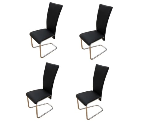 vidaXL Frittbærende spisestoler 4 stk svart kunstig skinn