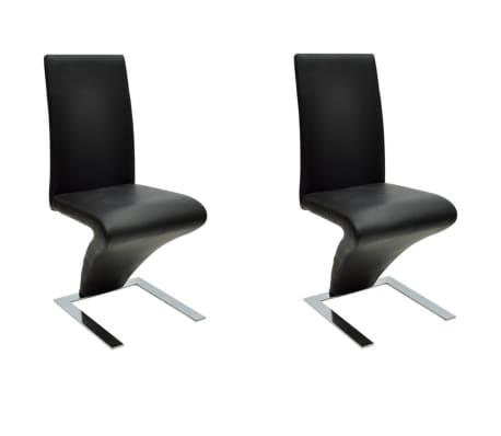 vidaXL Spisestoler 2 stk svart kunstig skinn
