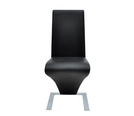 vidaXL Spisestoler 2 stk med jernbein kunstlær svart[3/6]