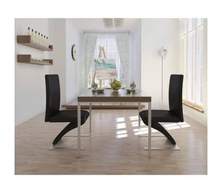 vidaXL Spisestoler 2 stk med jernbein kunstlær svart[1/6]