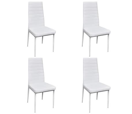 vidaXL Spisestoler 4 stk hvit kunstig skinn