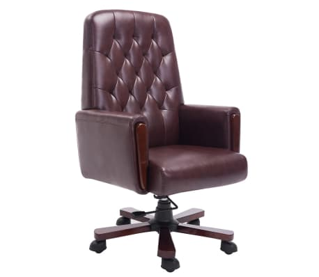 fauteuil de bureau chesterfield marron en cuir artificiel. Black Bedroom Furniture Sets. Home Design Ideas