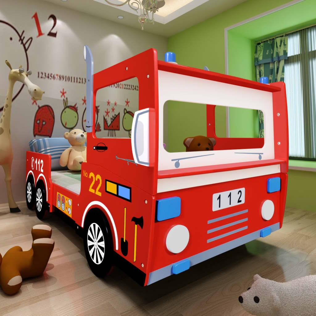 Pat copii mașină de pompieri 200 x 90 cm cu saltea spumă cu memorie imagine vidaxl.ro