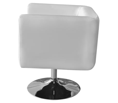 White Adjustable Arm Chair with Chrome Base[2/5]