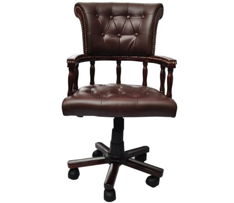 vidaXL Chesterfield Captain's Swivel Office Chair Brown Real Leather[2/5]