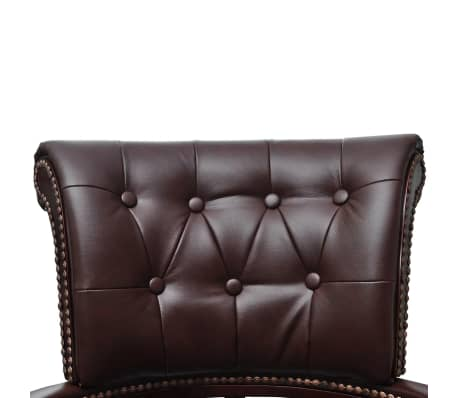 vidaXL Chesterfield Captain's Swivel Office Chair Brown Real Leather[3/5]