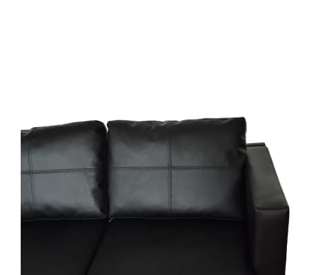 Vidaxl Sectional Sofa 3 Seater Leather Black Vidaxl Com