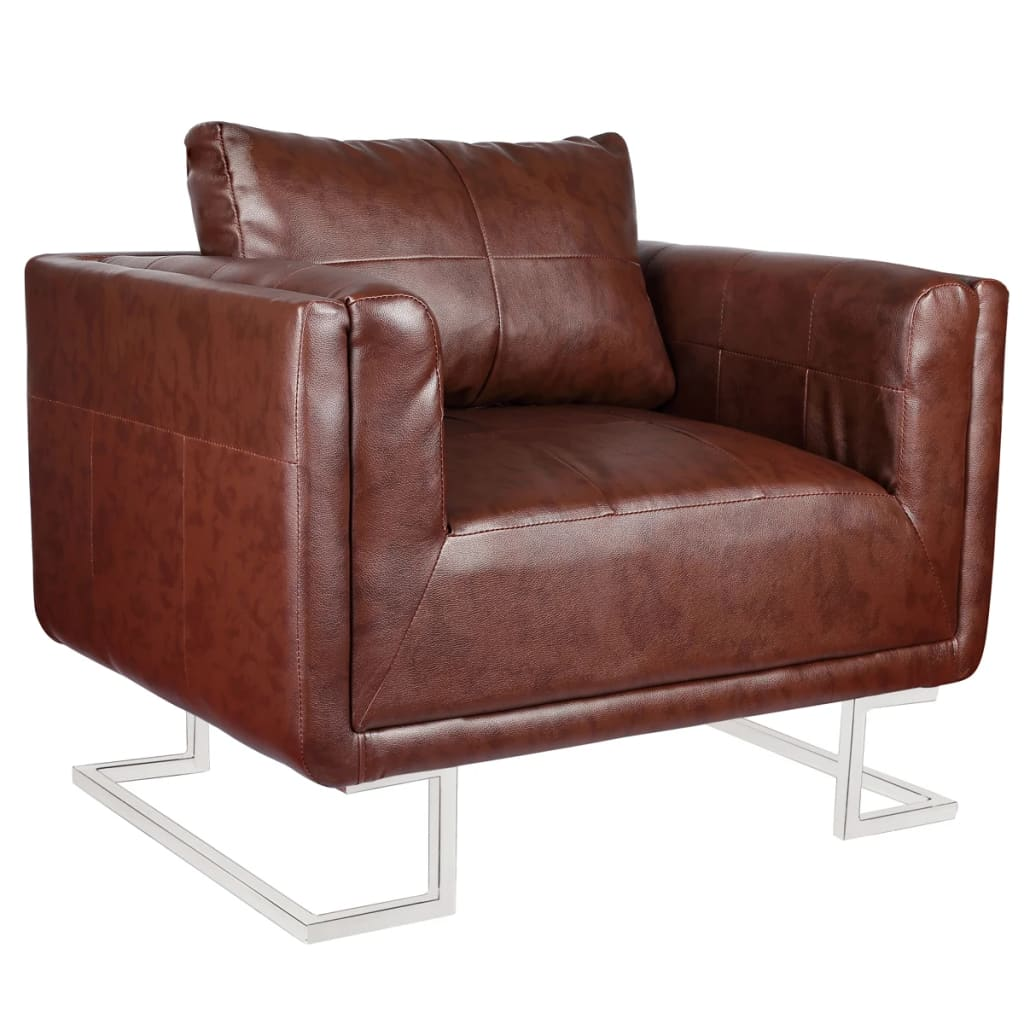 Brilliant Contemporary Cube Club Chair Accent Armchair Real Leather Dailytribune Chair Design For Home Dailytribuneorg