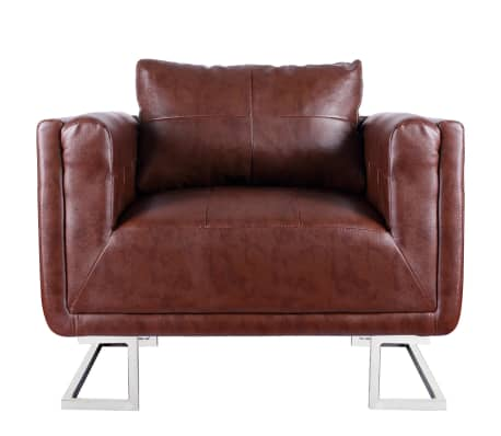 Brown Luxury Cube Armchair with Chrome Feet[5/5]