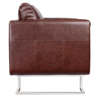 Brown Luxury Cube Armchair with Chrome Feet[2/5]
