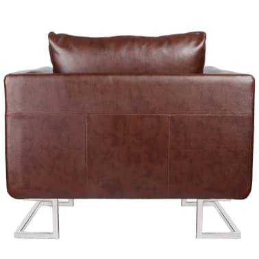 Brown Luxury Cube Armchair with Chrome Feet[3/5]