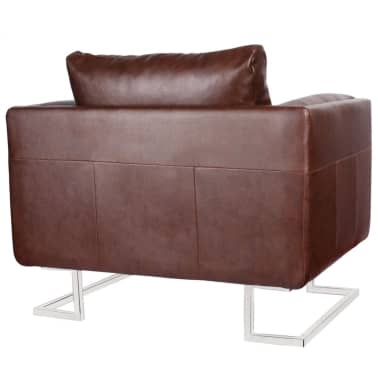 Brown Luxury Cube Armchair with Chrome Feet[4/5]