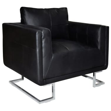 Black Luxury Cube Armchair with Chrome Feet[1/5]