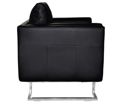 Black Luxury Cube Armchair with Chrome Feet[5/5]