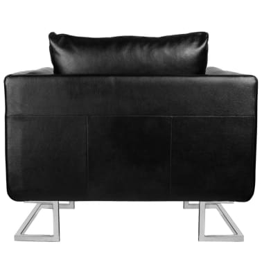 Black Luxury Cube Armchair with Chrome Feet[2/5]