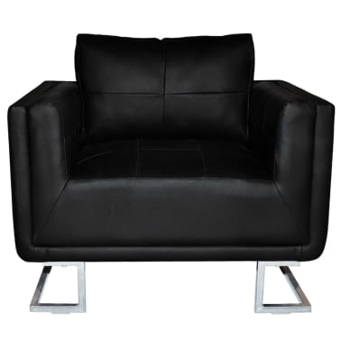 Black Luxury Cube Armchair with Chrome Feet[4/5]