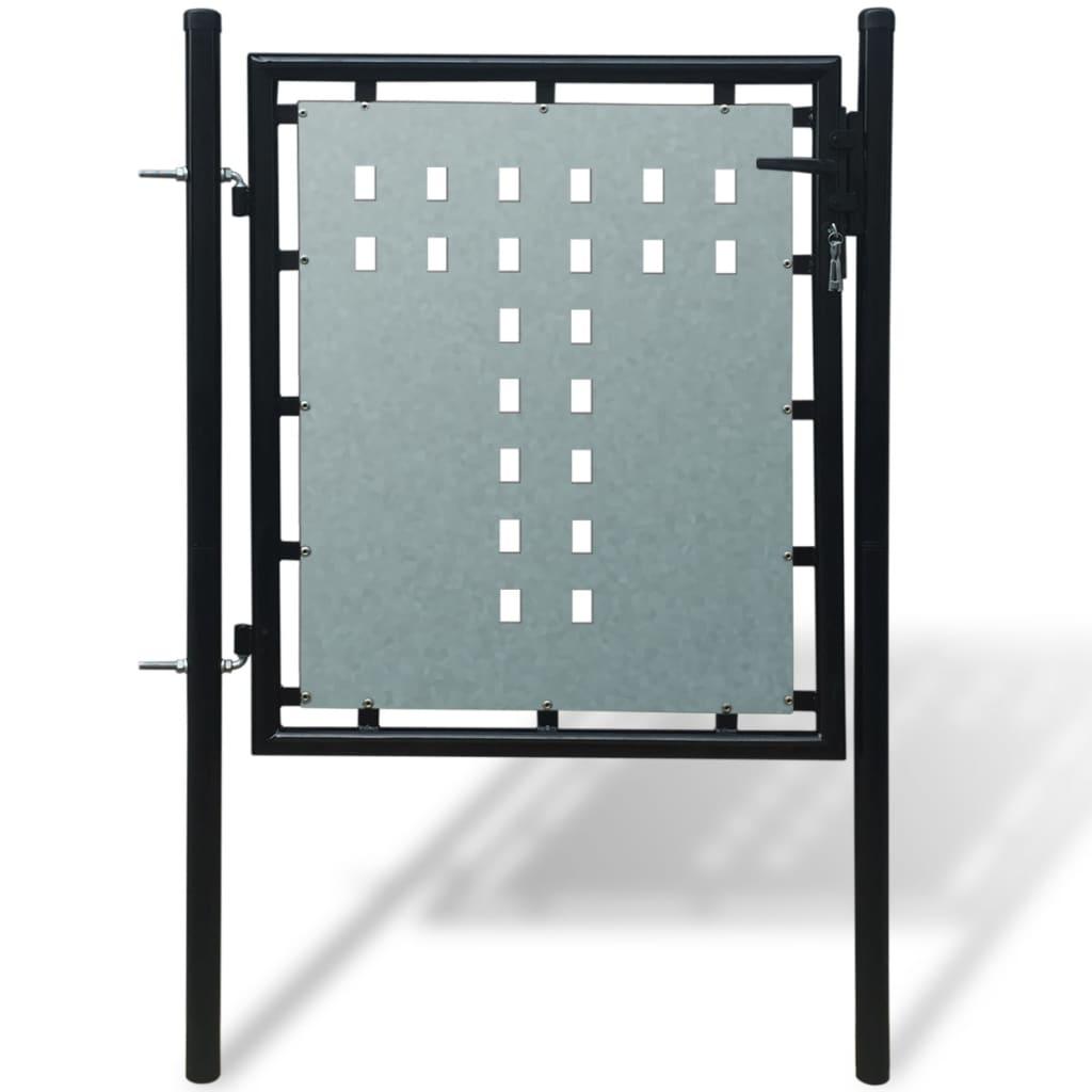 Černá jednokřídlá plotová branka 100 x 125 cm