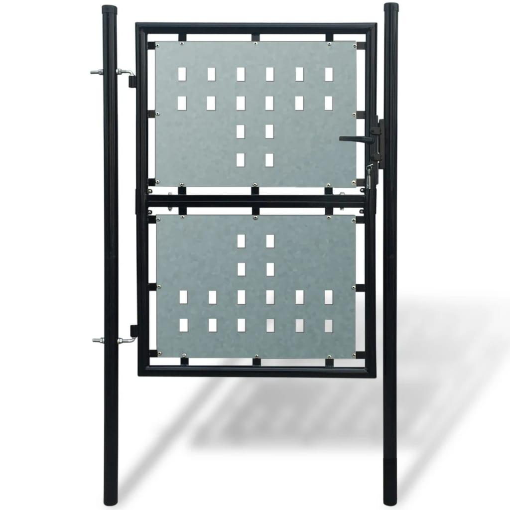 99141687 Zauntor Gartentor Einzeltor schwarz 100 x 200 cm