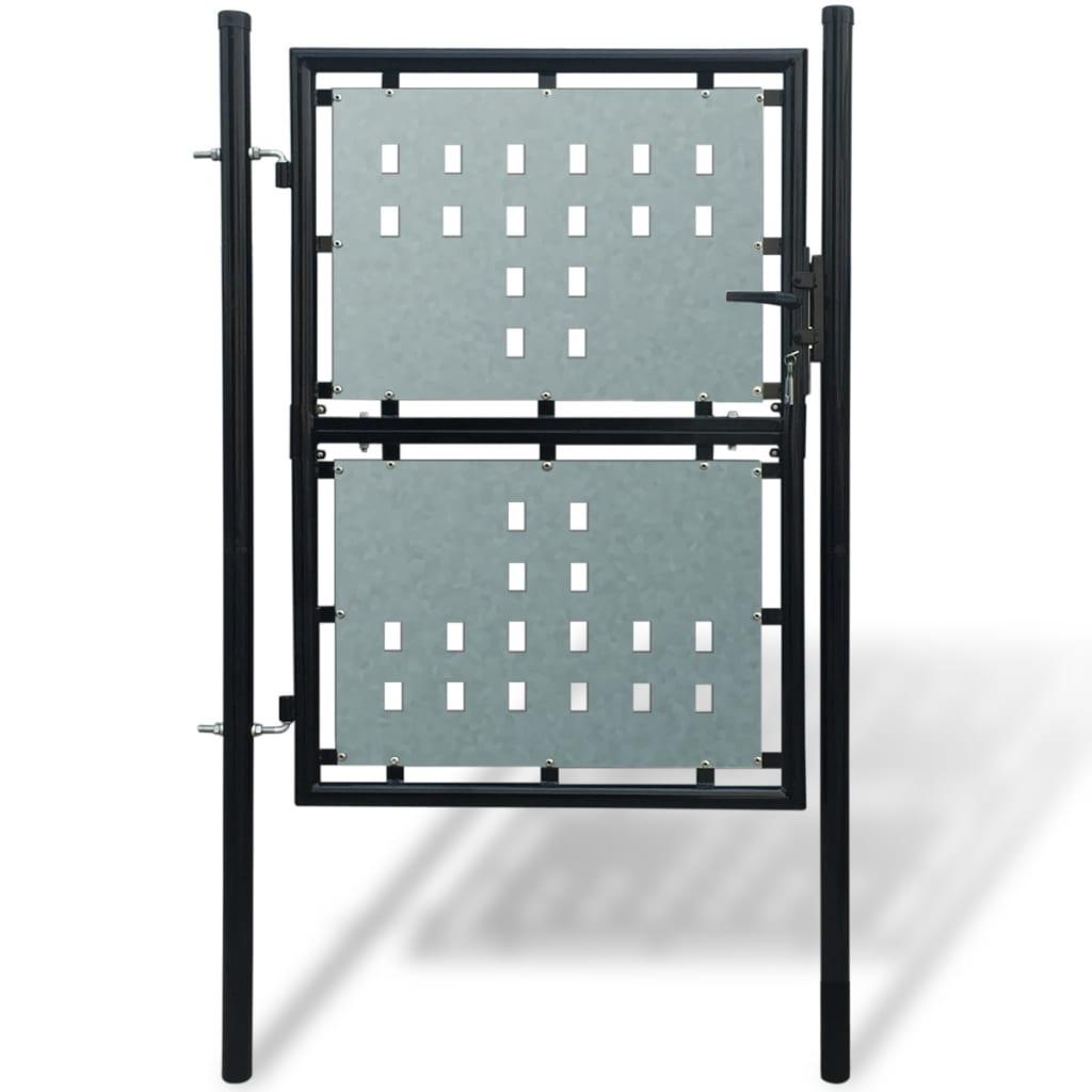 Poartă neagră pentru gard 100 x 225 cm imagine vidaxl.ro