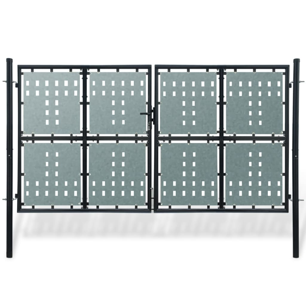 Poartă dublă neagră pentru gard 300 x 250 cm vidaxl.ro