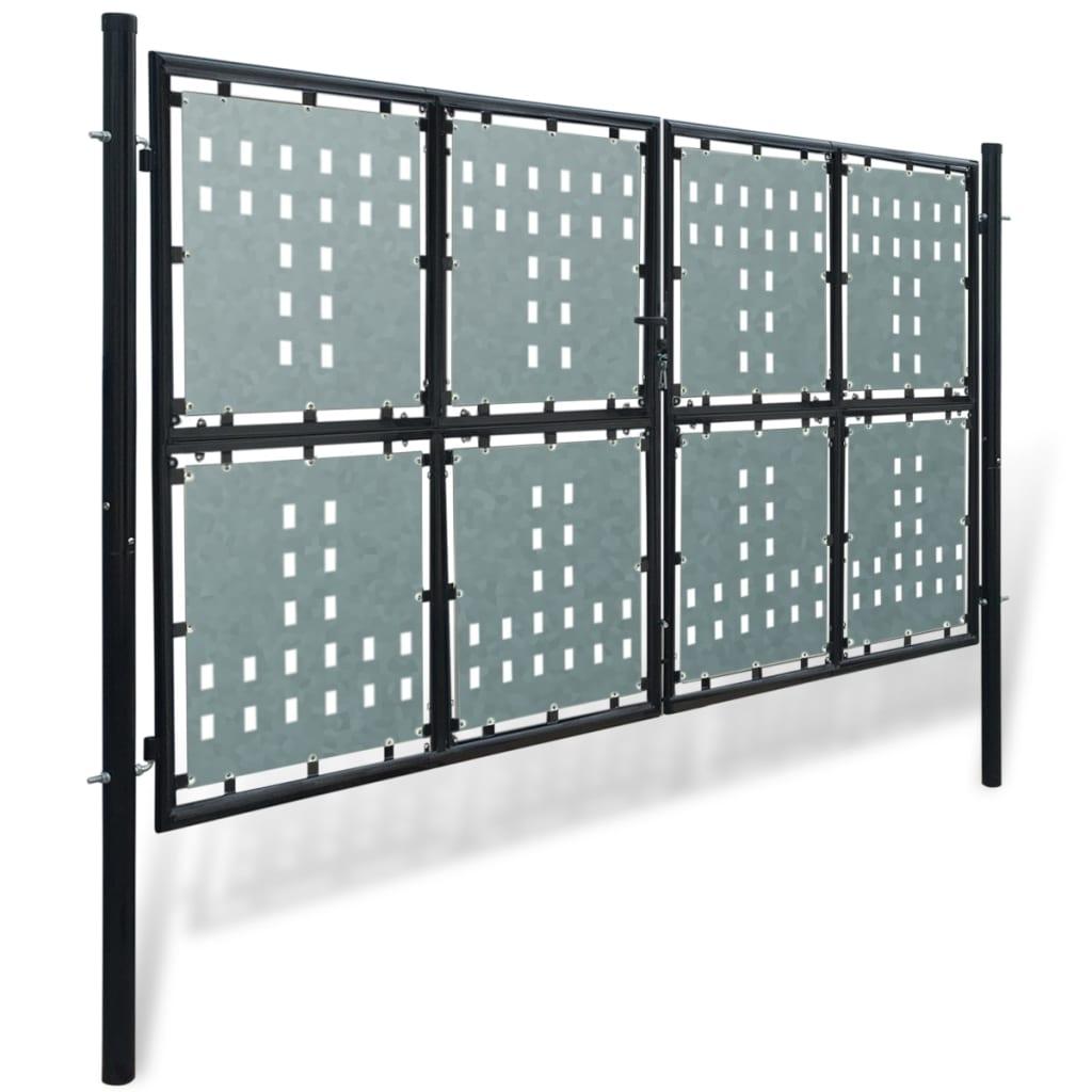 VidaXL - vidaXL Tuinpoort dubbele deur zwart 300 x 250 cm