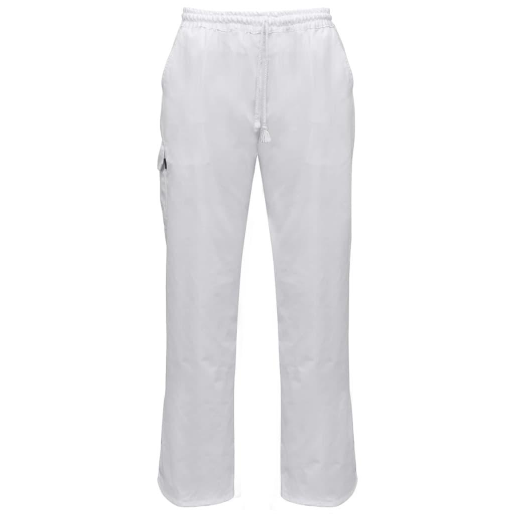 Kuchařské kalhoty bílé 2 ks s praktickou šňůrou velikost XXL