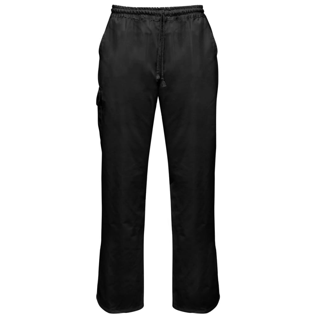 Kuchařské kalhoty černé 2 ks s praktickou šňůrou velikost XL