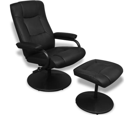 Black Artificial Leather TV Armchair with Foot Stool[1/6]
