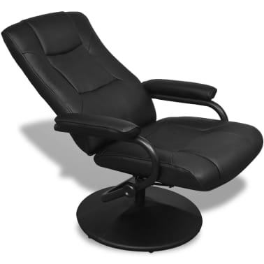 Black Artificial Leather TV Armchair with Foot Stool[5/6]