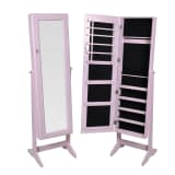 vidaXL Free Standing Jewelry Cabinet with Mirror Pink
