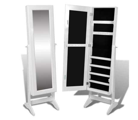 vidaXL Free Standing Mirror Jewelry Cabinet White[2/6]