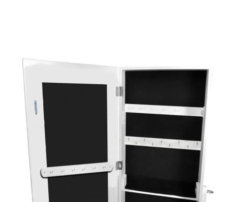 vidaXL Free Standing Mirror Jewelry Cabinet White[5/6]