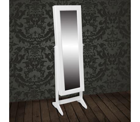 vidaXL Free Standing Mirror Jewelry Cabinet White[6/6]