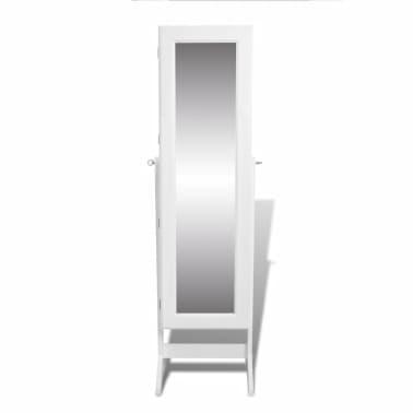 vidaXL Free Standing Mirror Jewelry Cabinet White[3/6]