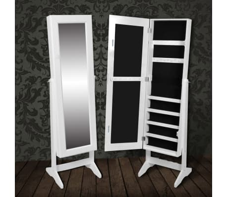 vidaXL Free Standing Mirror Jewelry Cabinet White[1/6]