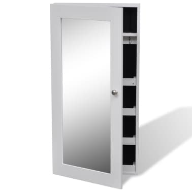vidaXL Wall Jewelry Cabinet with Mirror White[7/7]