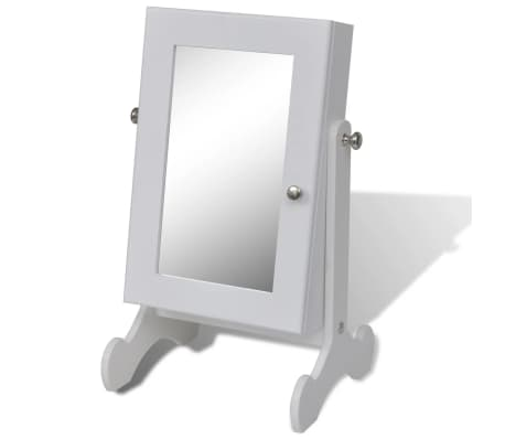 White Tabletop Wooden Jewelry Cabinet with Mirror[2/6]